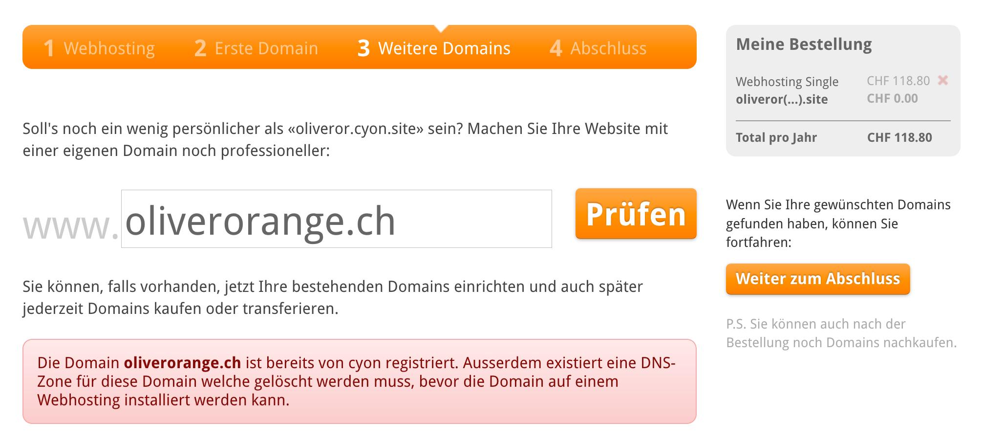 Deine Domain ist bereits bei uns eingerichtet