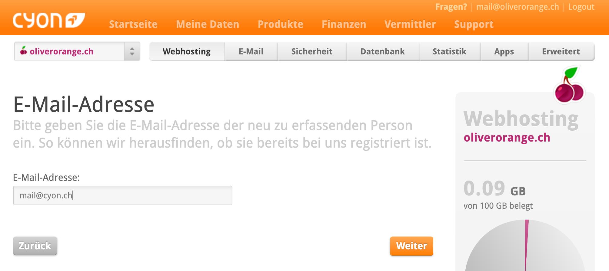 E-Mail-Adresse des neuen Kontakts eingeben