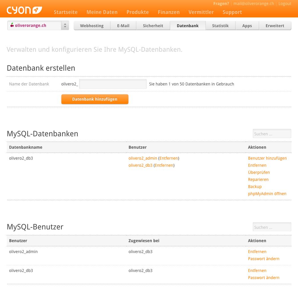 """Die seite """"datenbank""""> """"MySQL"""" im my.cyon"""