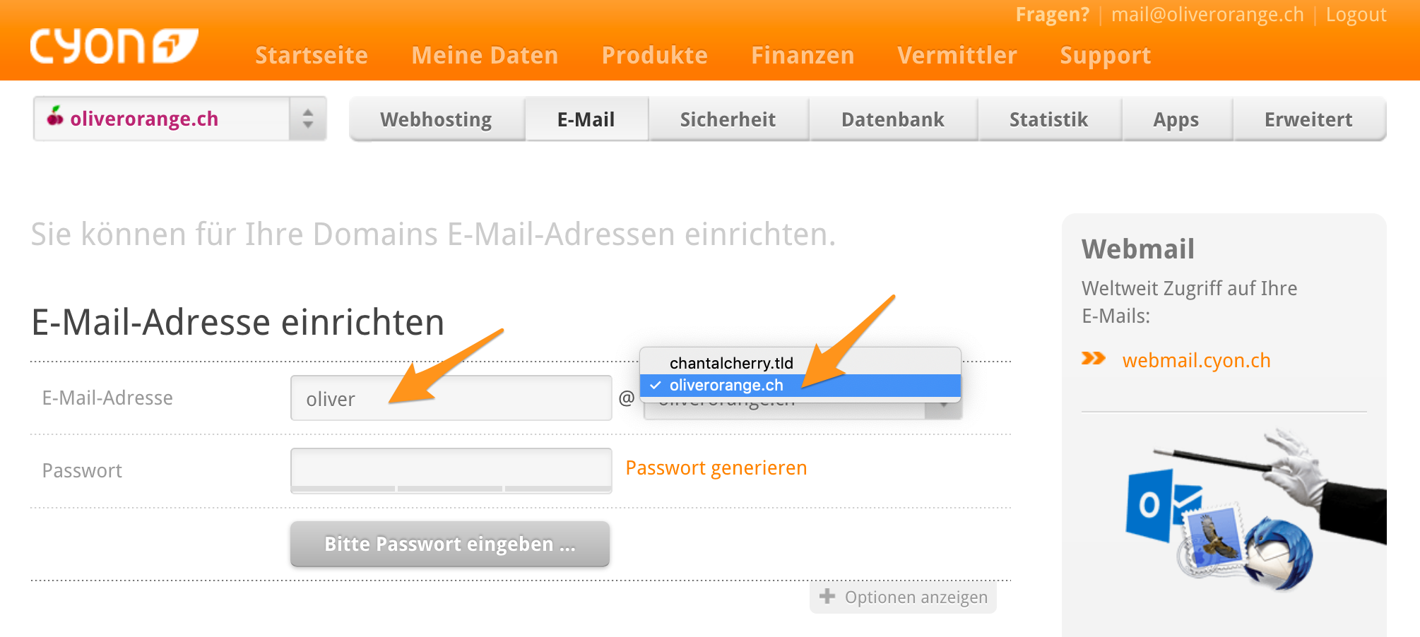 E-Mail-Adresse einrichten