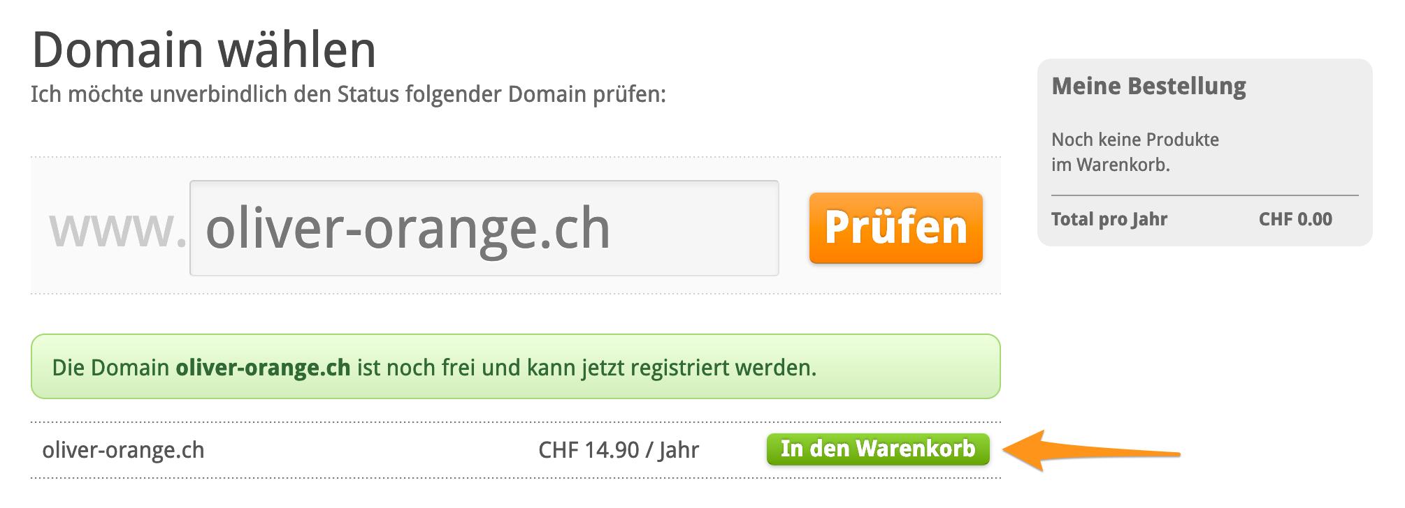 Status der gewünschten Domain prüfen