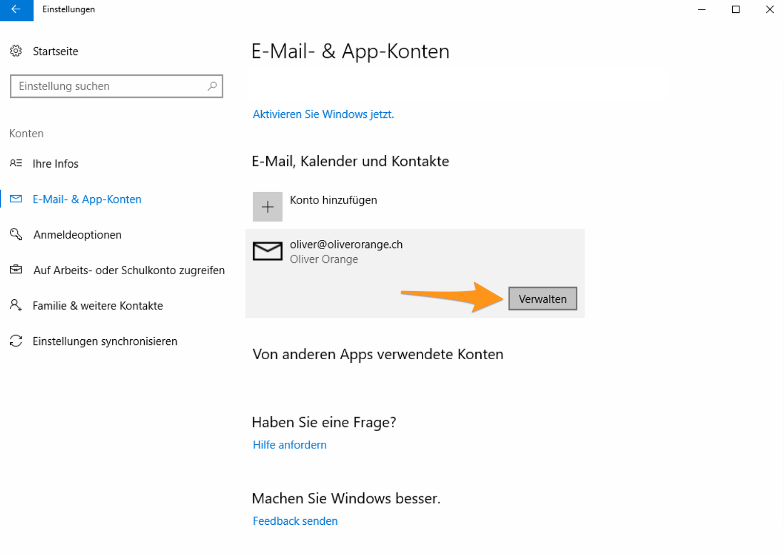 E-Mail-Konto verwalten
