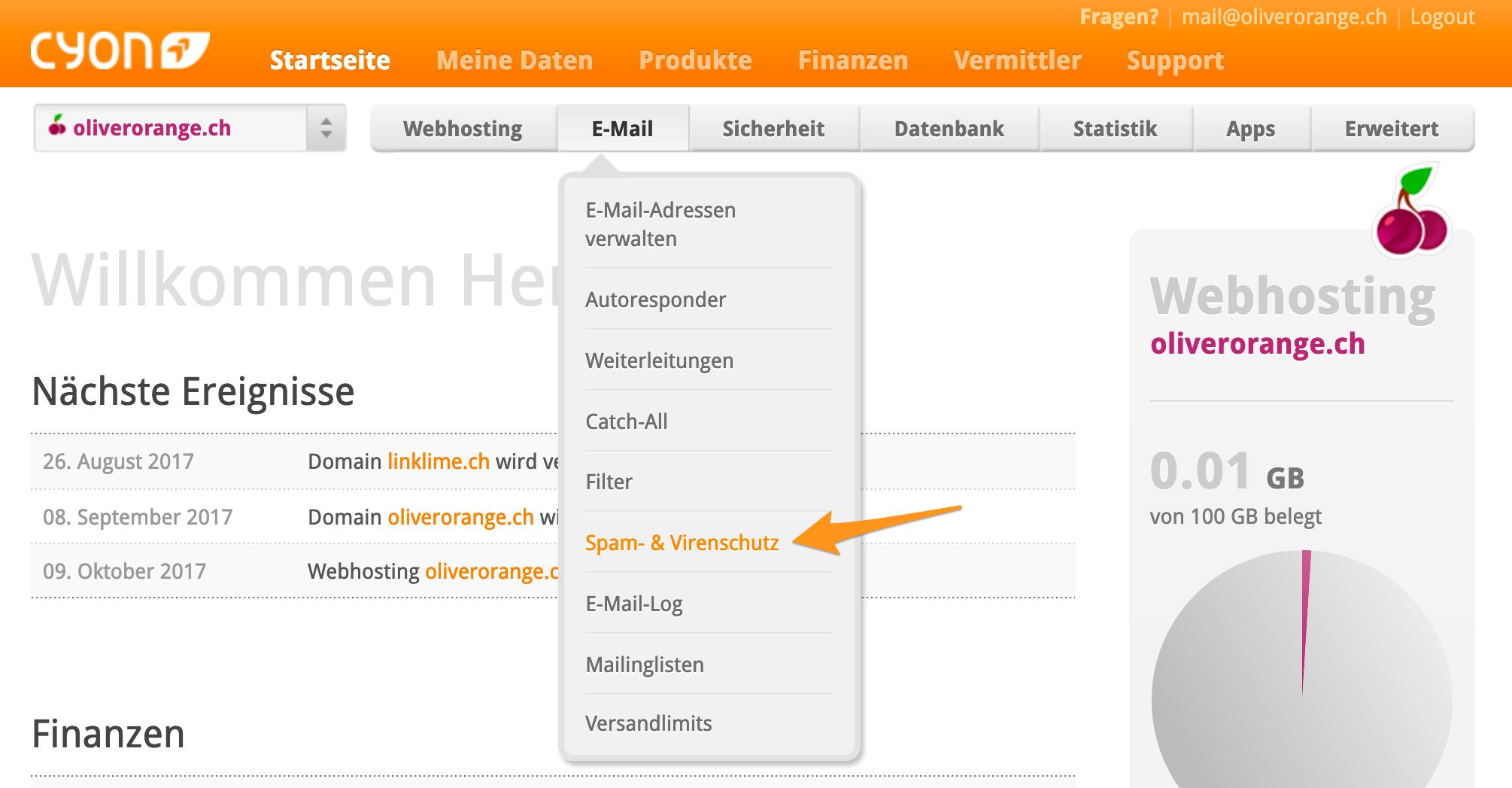 Menü «Spam- & Virenschutz» im my.cyon