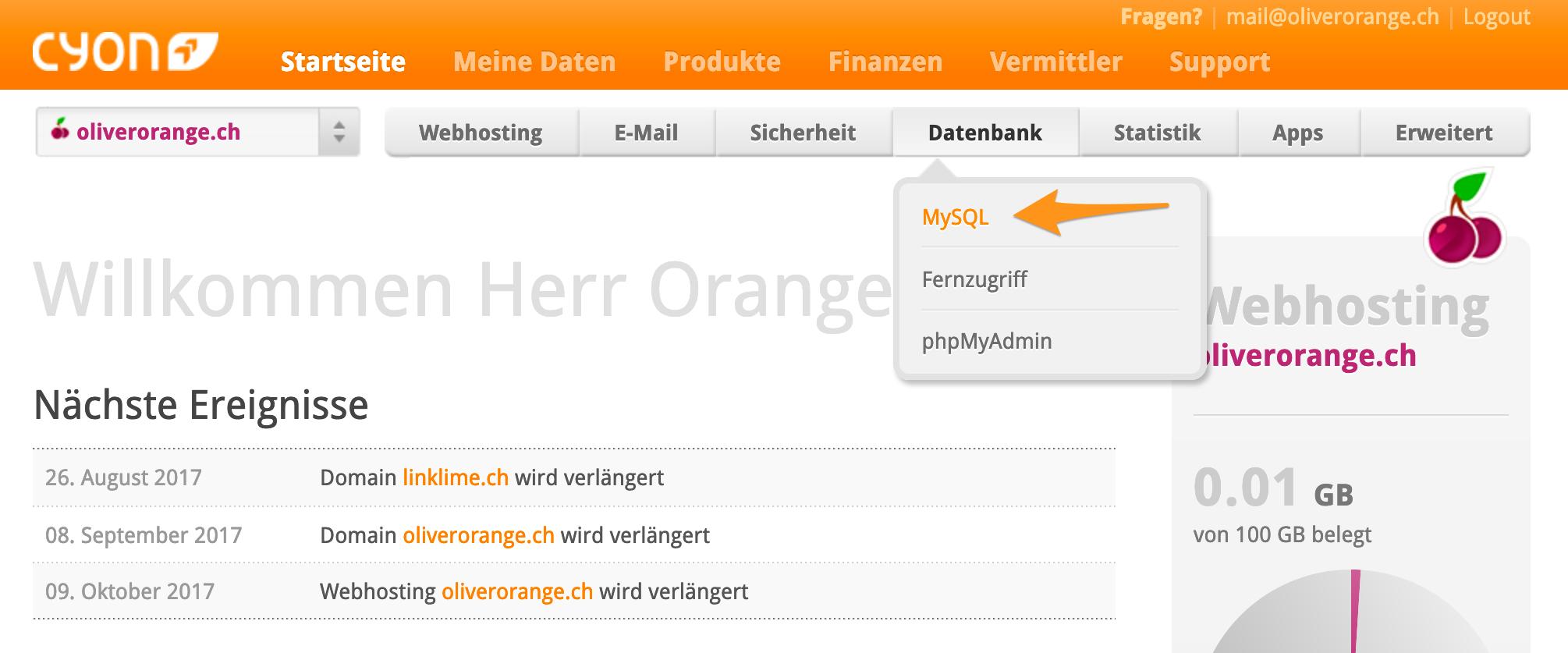 Menü «MySQL» im my.cyon
