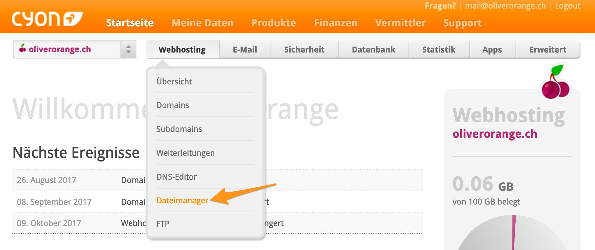 Menü «Dateimanager» im my.cyon