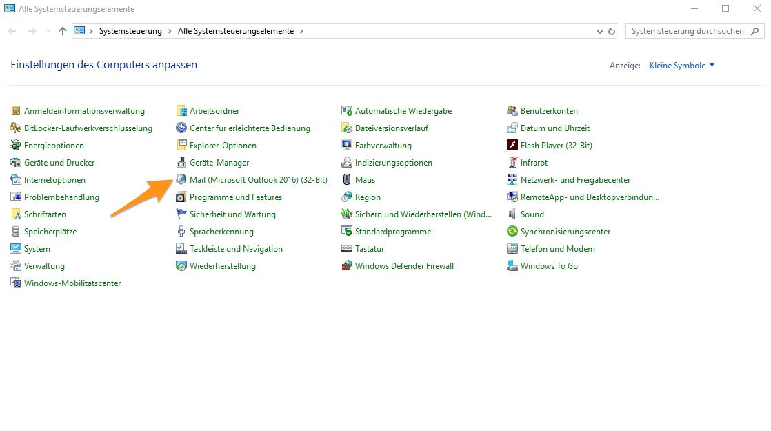 Systemsteuerung von Windows