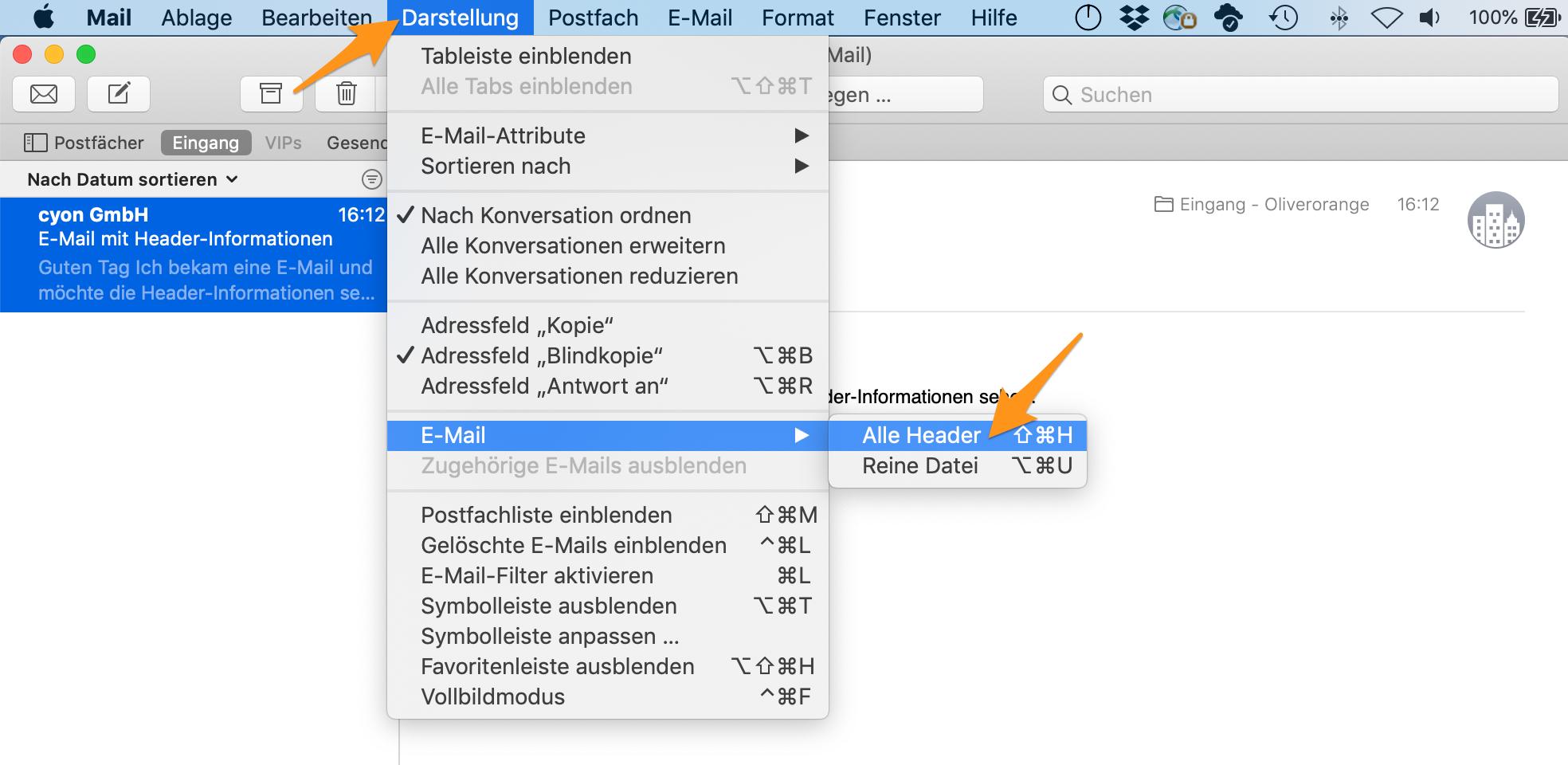 Header-Informationen anzeigen im Apple-Mail