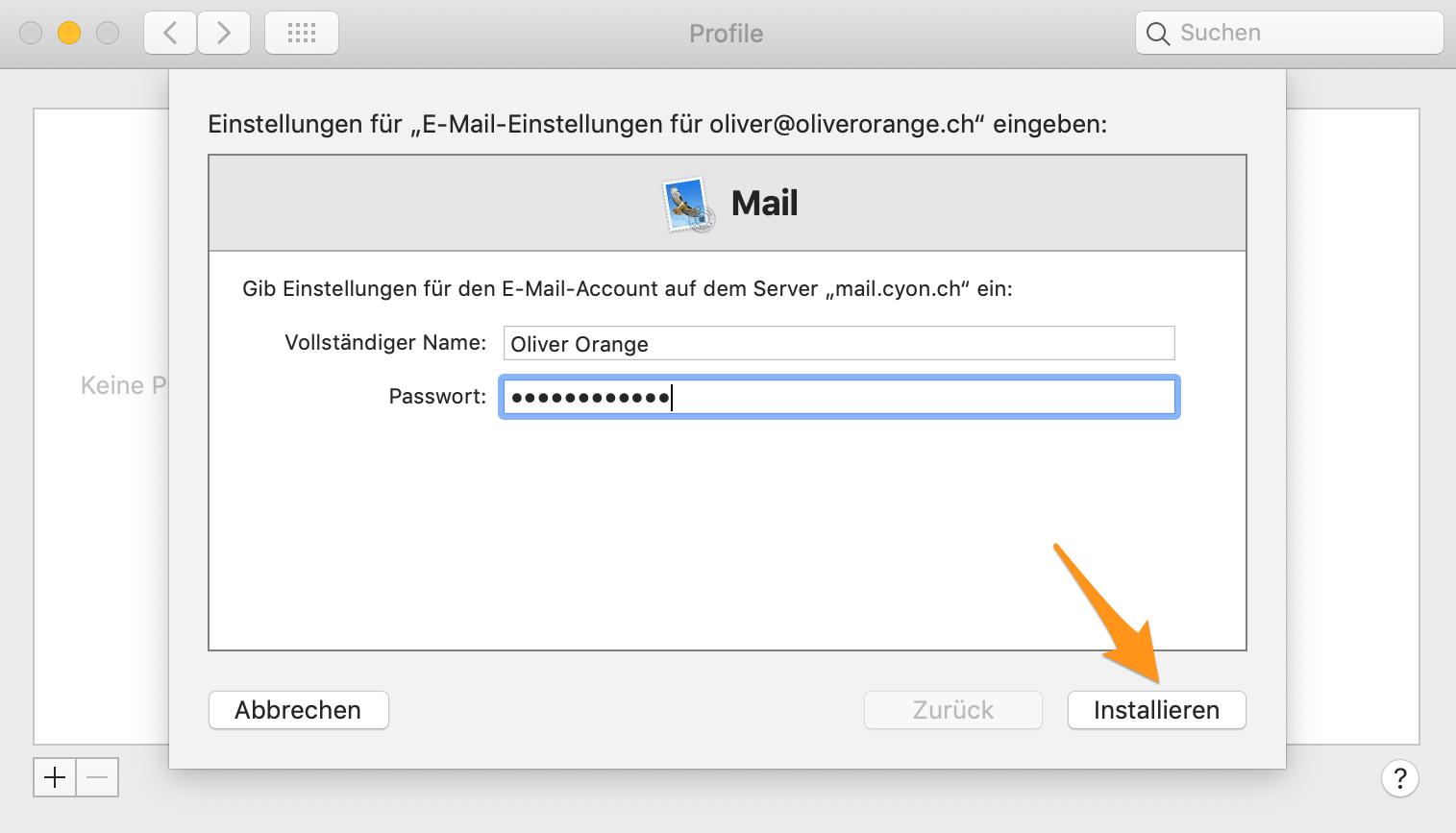Name und Passwort angeben