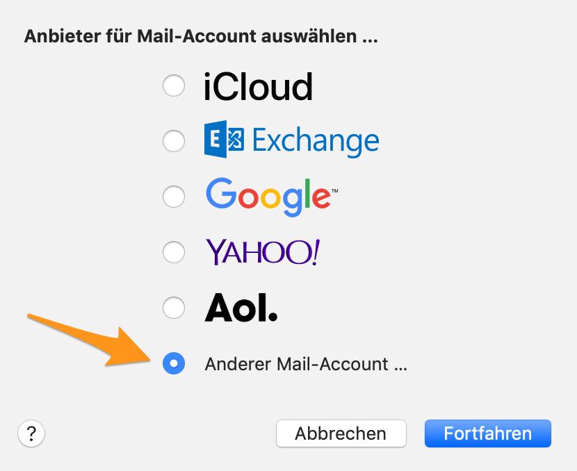 Anbieter für Mail-Account auswählen