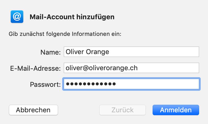 Mail-Account hinzufügen