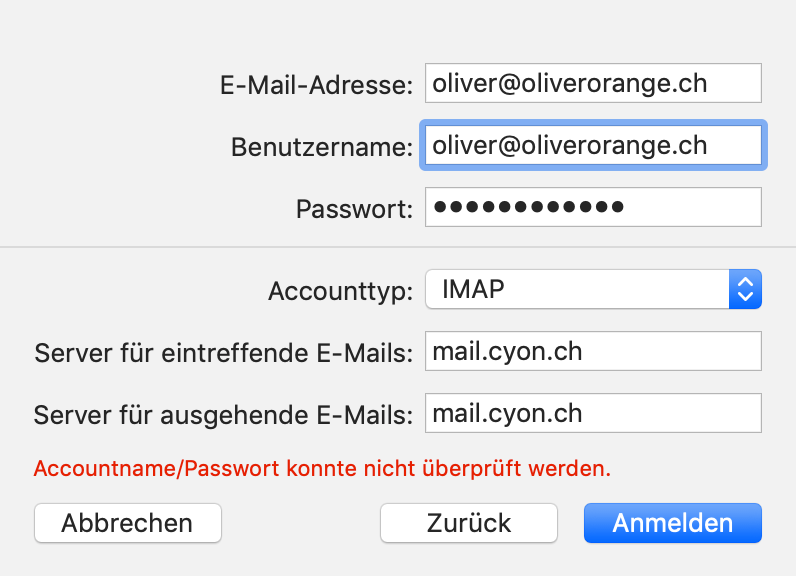 Servereinstellungen Mail-Account