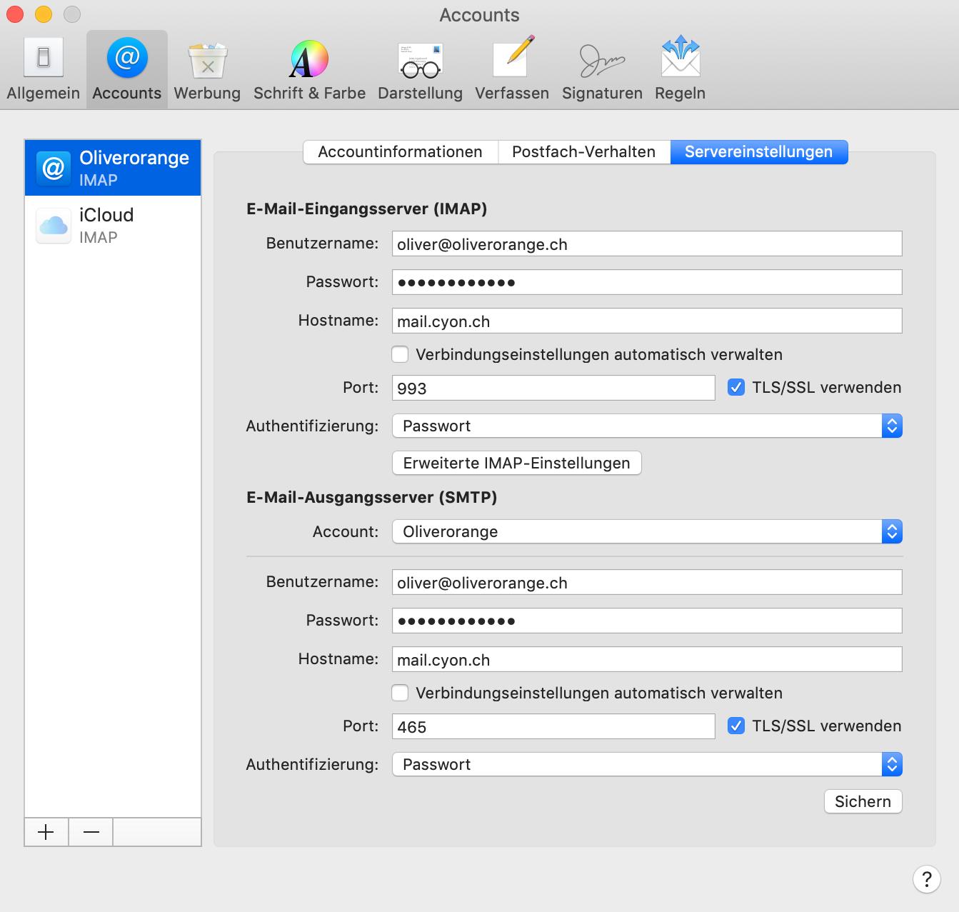 Servereinstellungen im Apple Mail