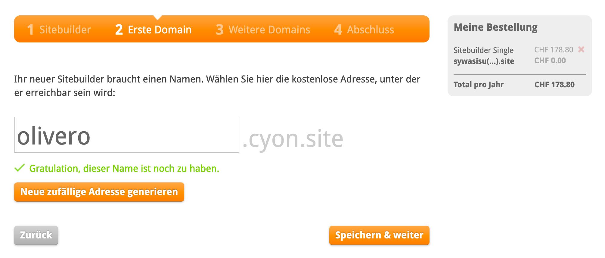 Eingabe Ihrer eigenen Sitebuilder-Adresse