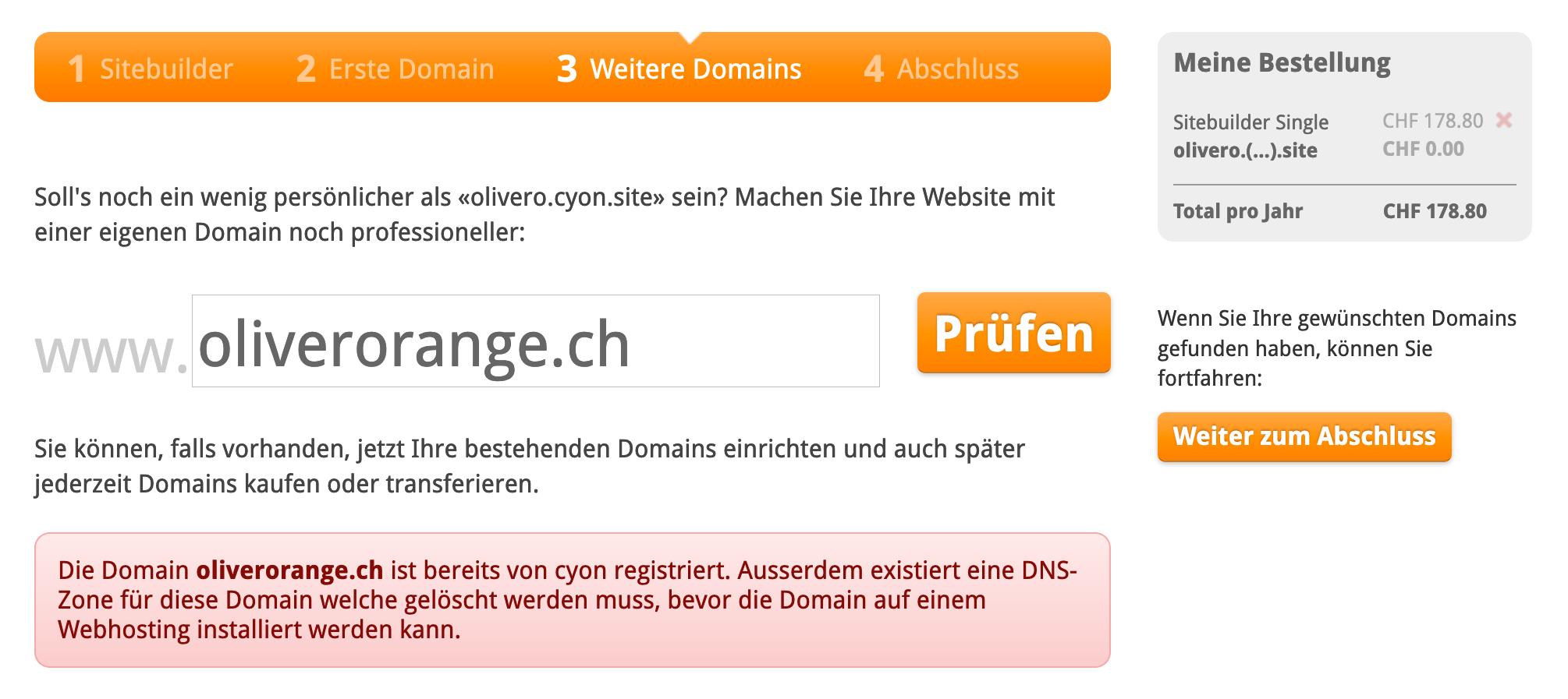 Ihre Domain ist bereits bei uns eingerichtet
