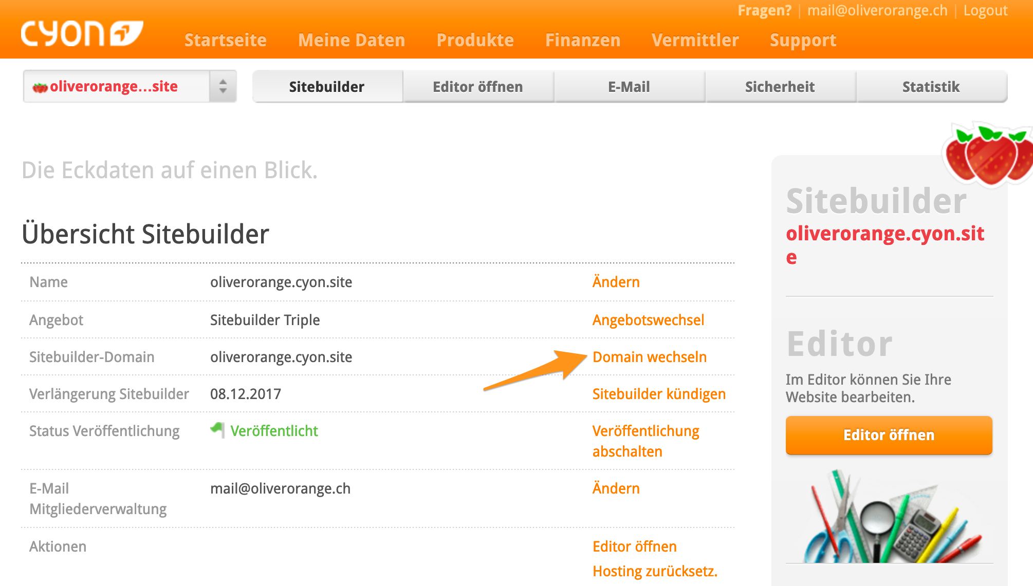 Sitebuilder-Domain ersetzten