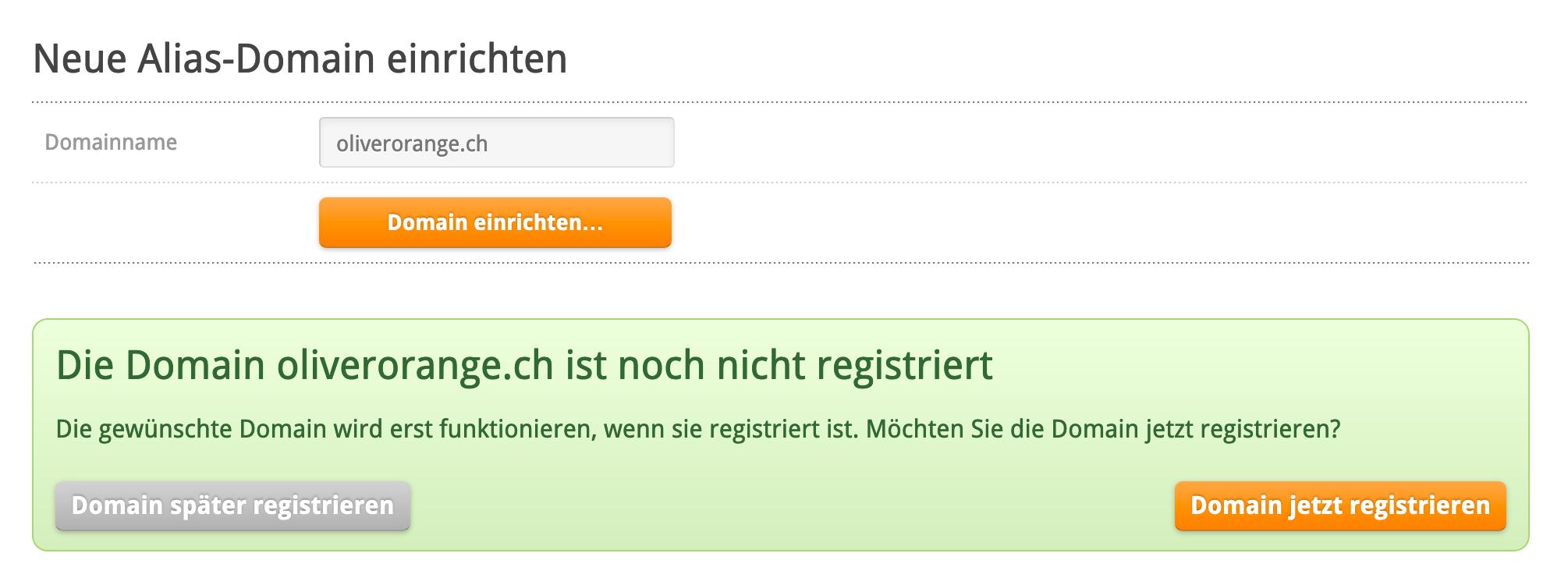 Domain registrieren oder einrichten
