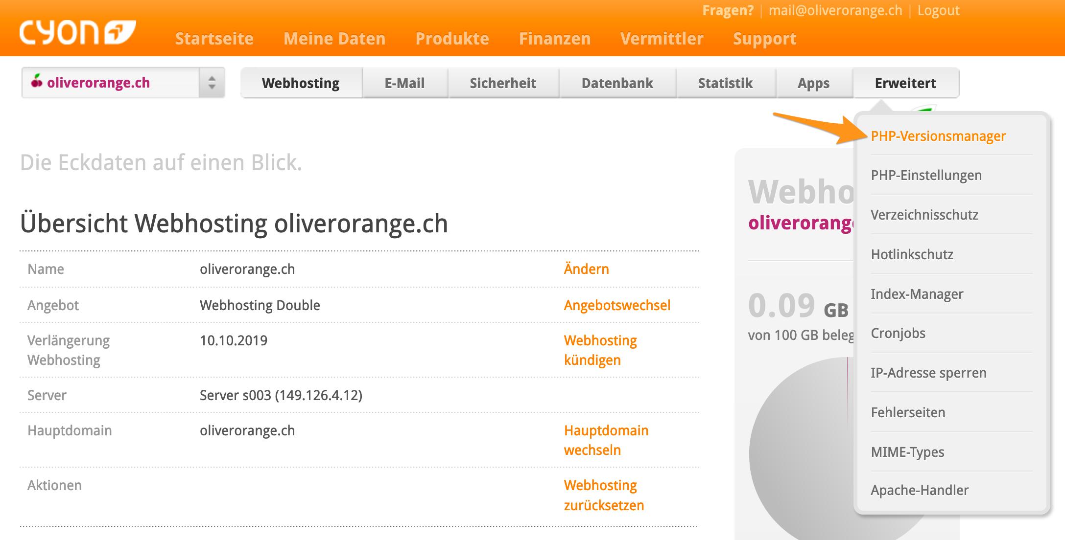 Menü «PHP-Versionsmanager» im my.cyon