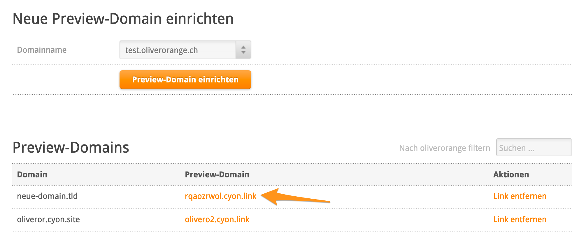 Link zur Preview-Domain