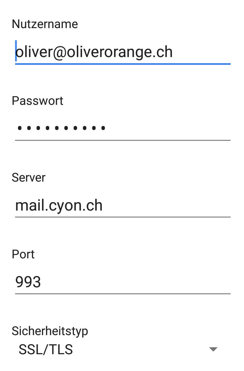 Servereinstellungen «Eingehende Nachrichten»