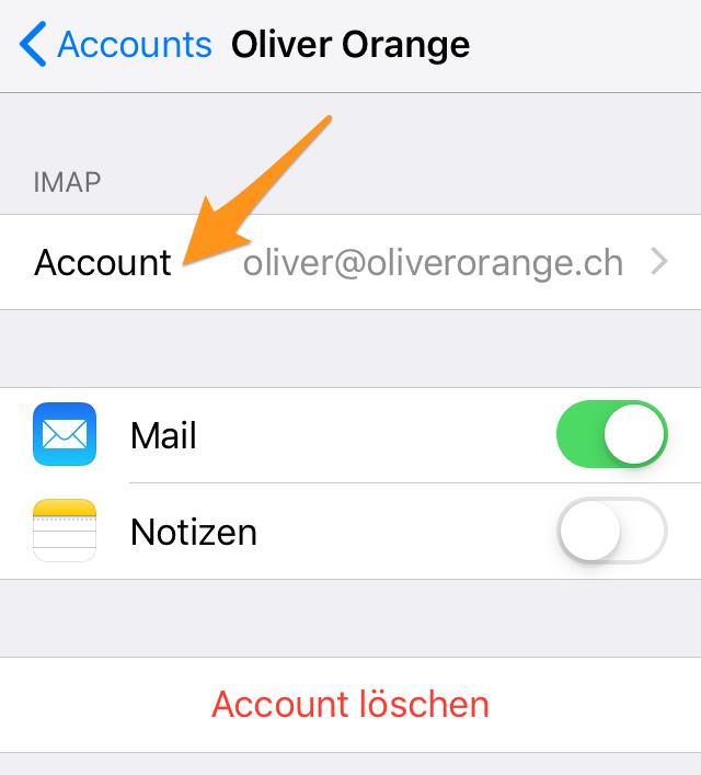 Einstellungen E-Mail-Account