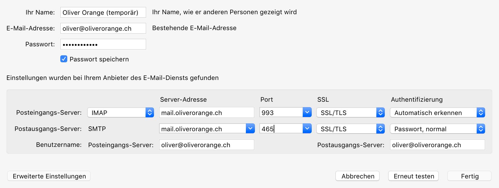 Servereinstellungen manuell anpassen