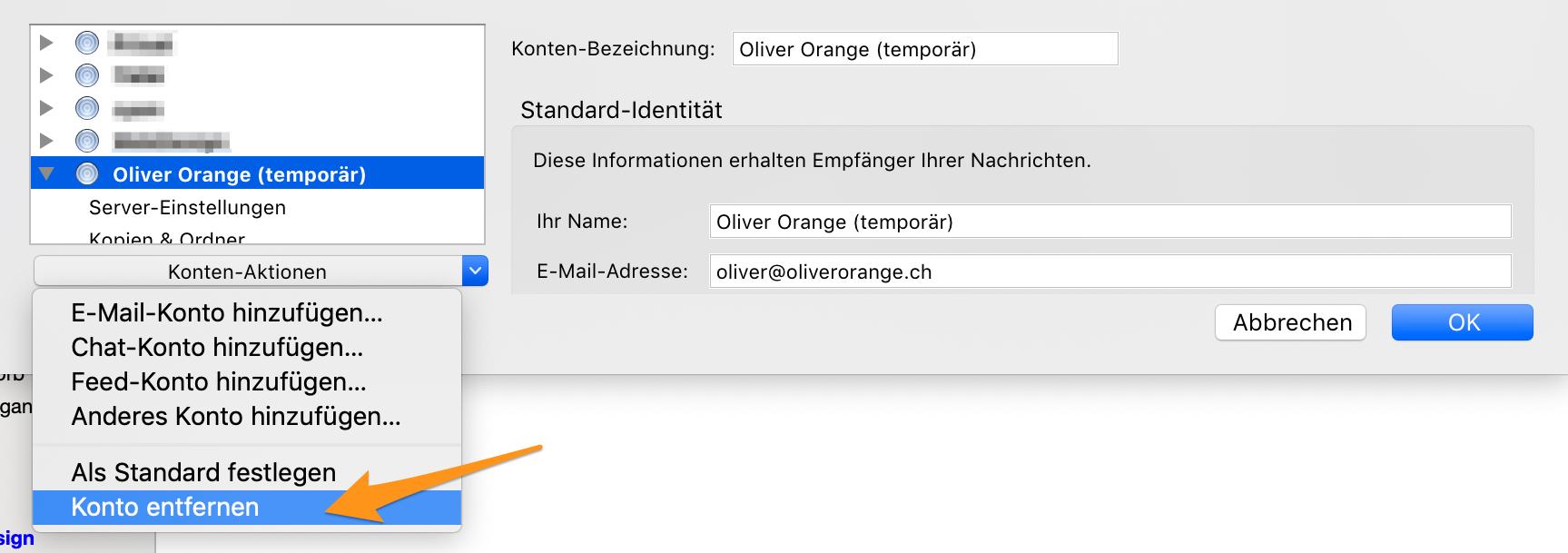 Temporäres E-Mail-Konto entfernen