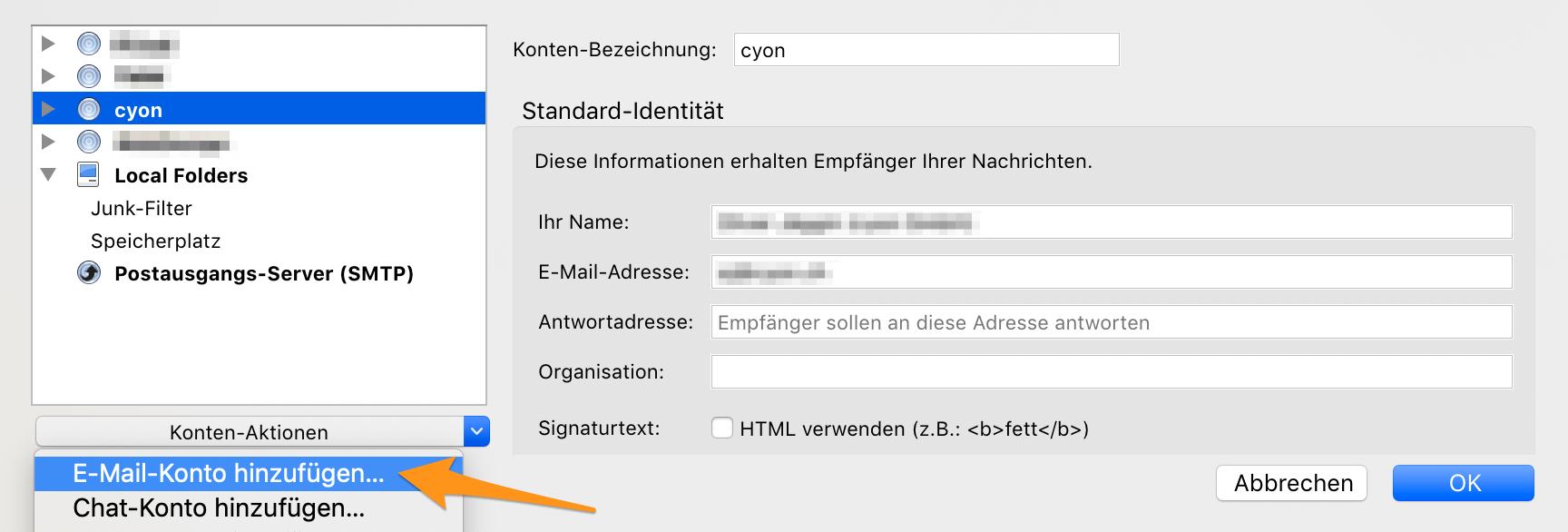 E-Mail-Konto hinzufügen