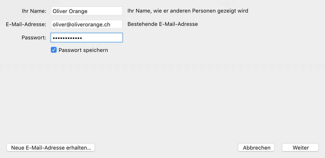 E-Mail-Informationen eintragen