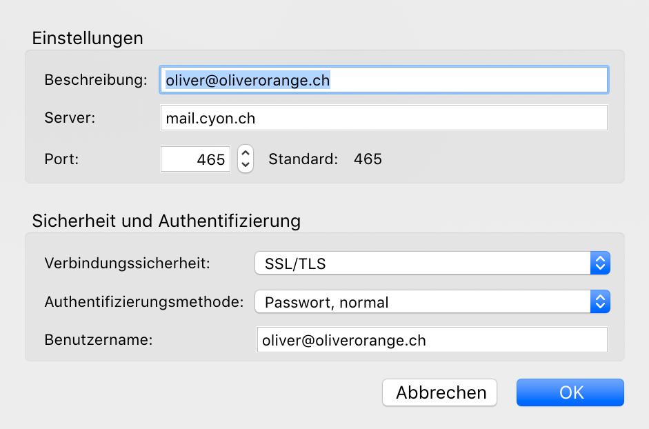 Servereinstellungen Postausgangsserver