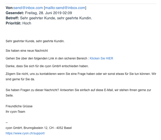 Phishing-E-Mail, welche auf eine gefälschte my.cyon-Login-Seite leitet