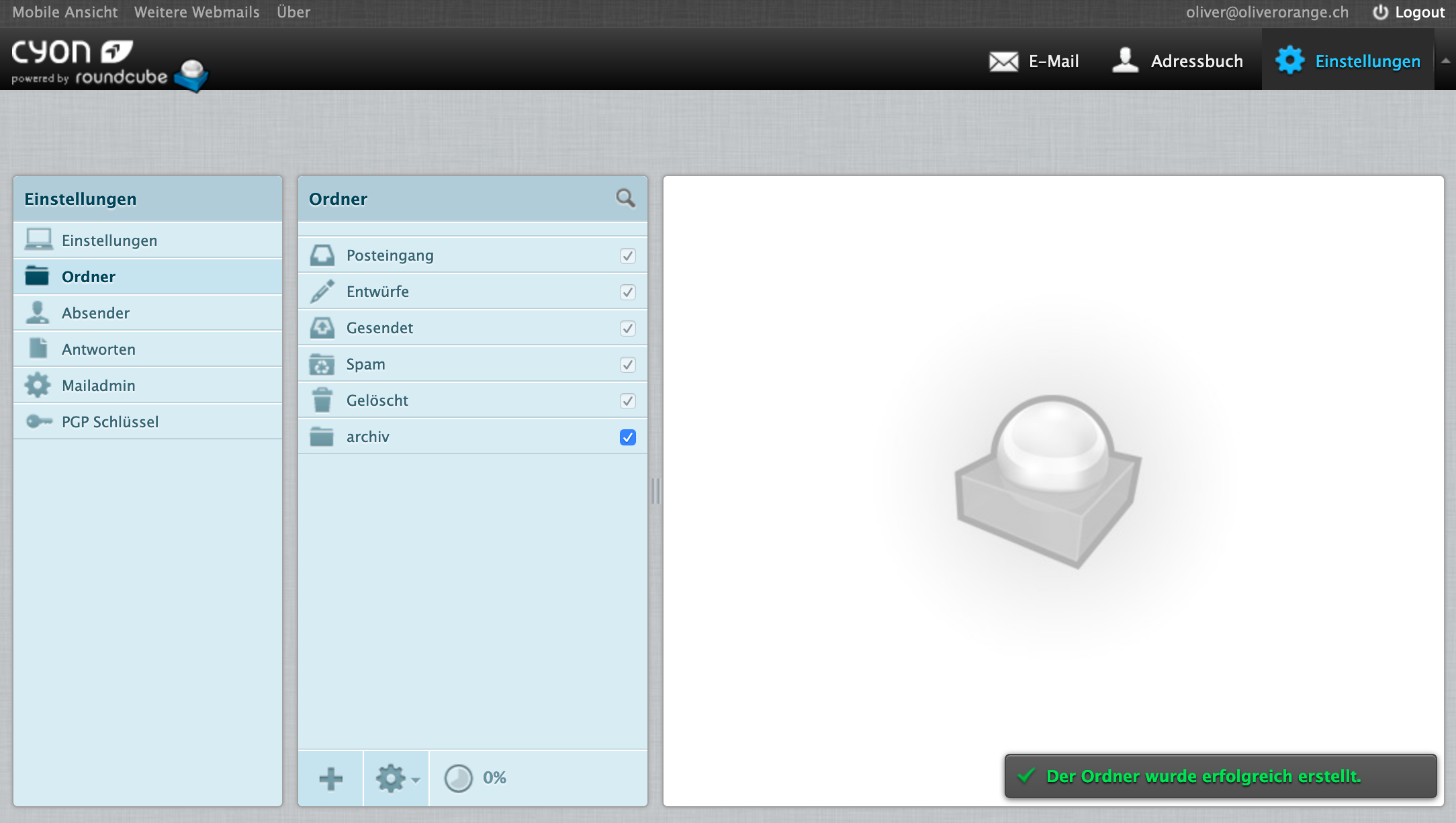 IMAP-Ordner erstellen im Webmail