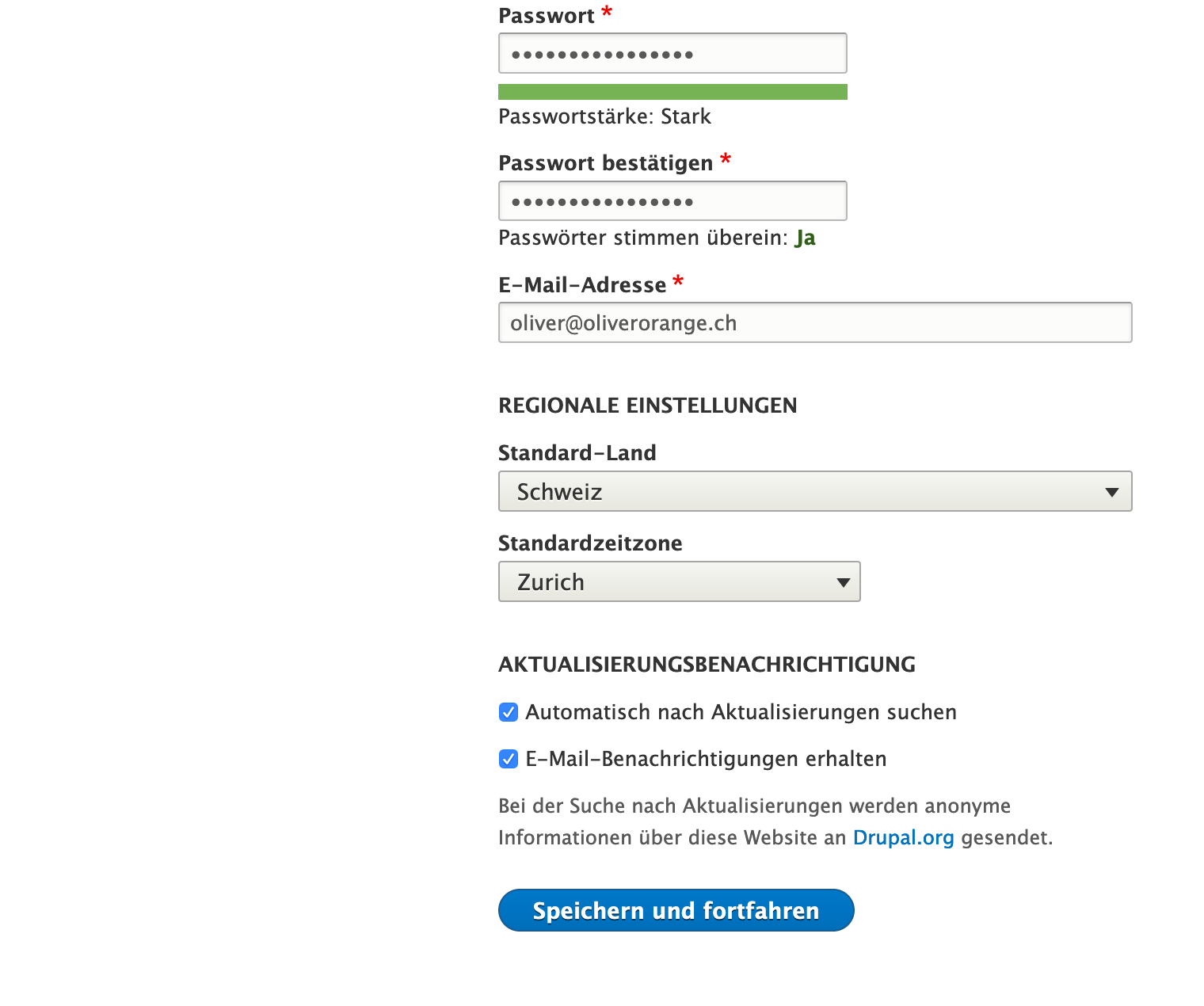Konfiguration der Website