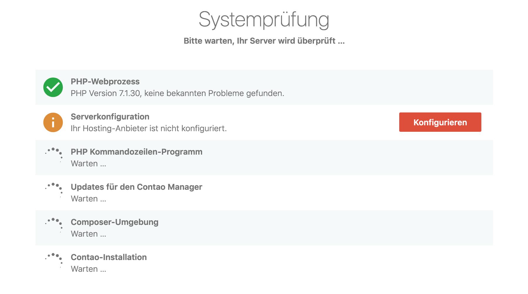Überprüfung der Systemkonfiguration