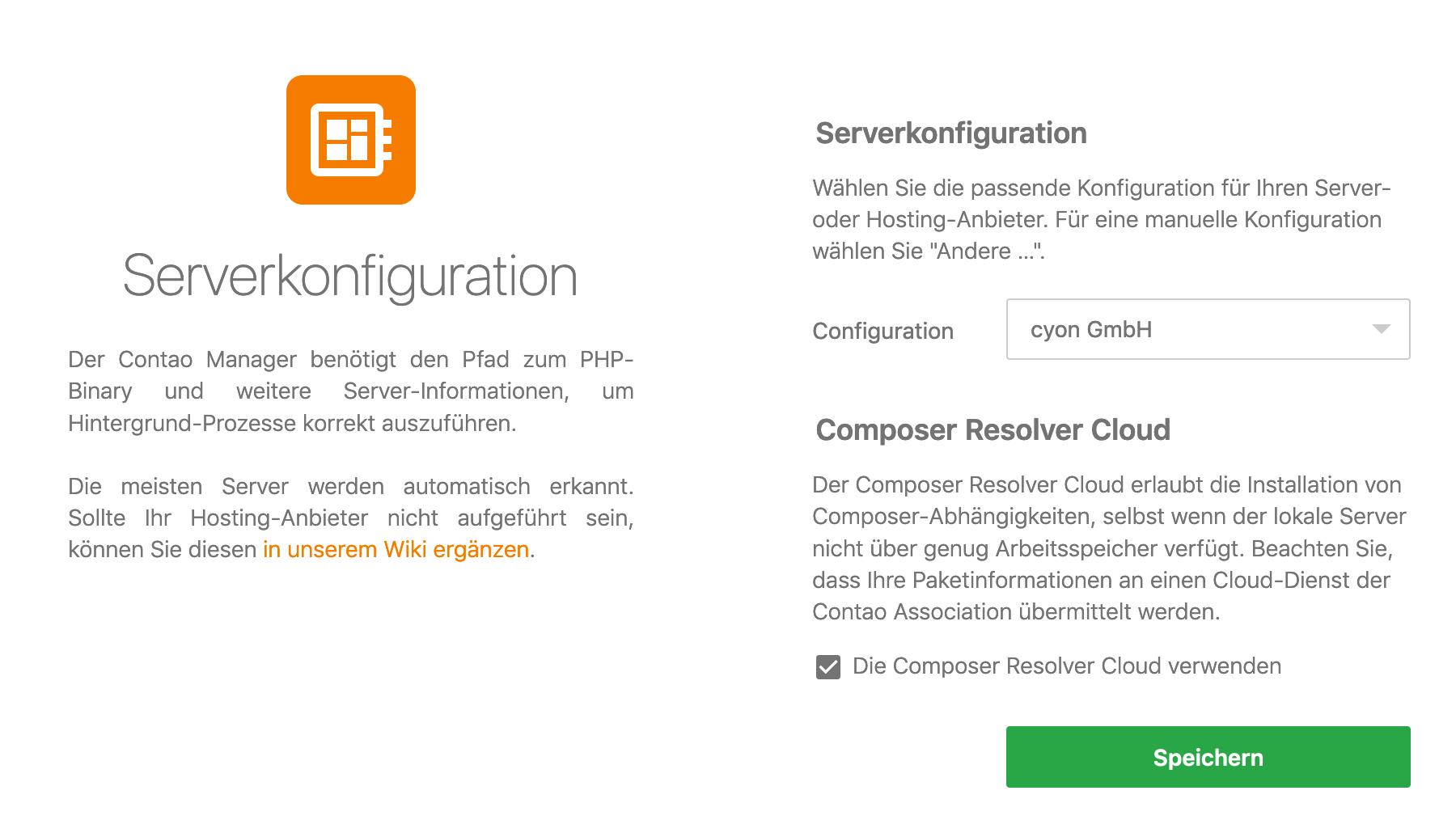 Serverkonfiguration auswählen