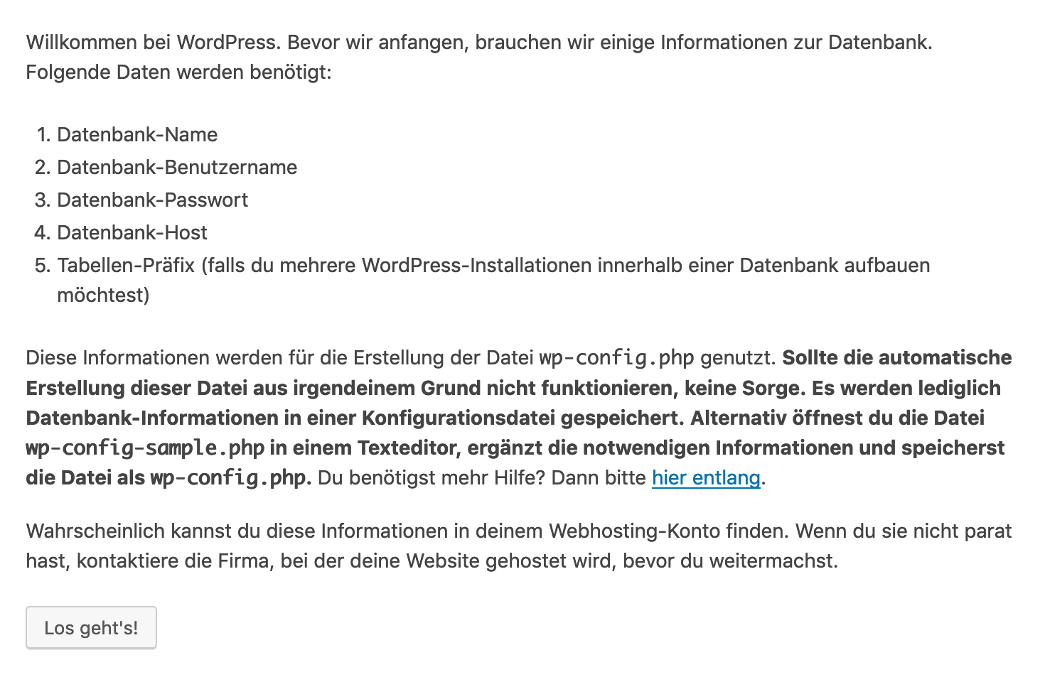 Hinweis zu benötigten Datenbank-Informationen