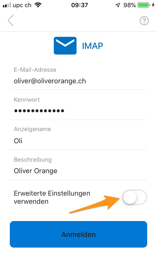 Angaben zum E-Mail-Konto eingeben