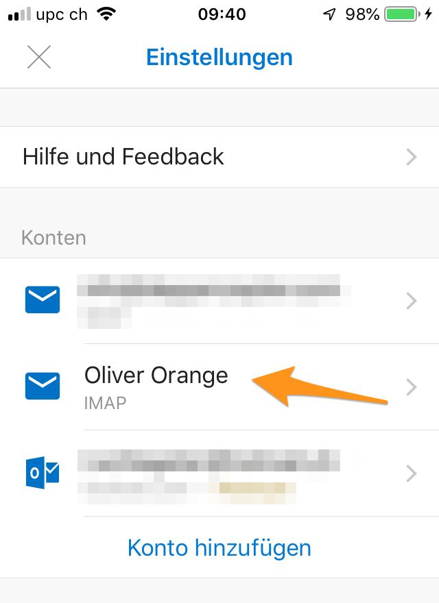 E-Mail-Konto auswählen