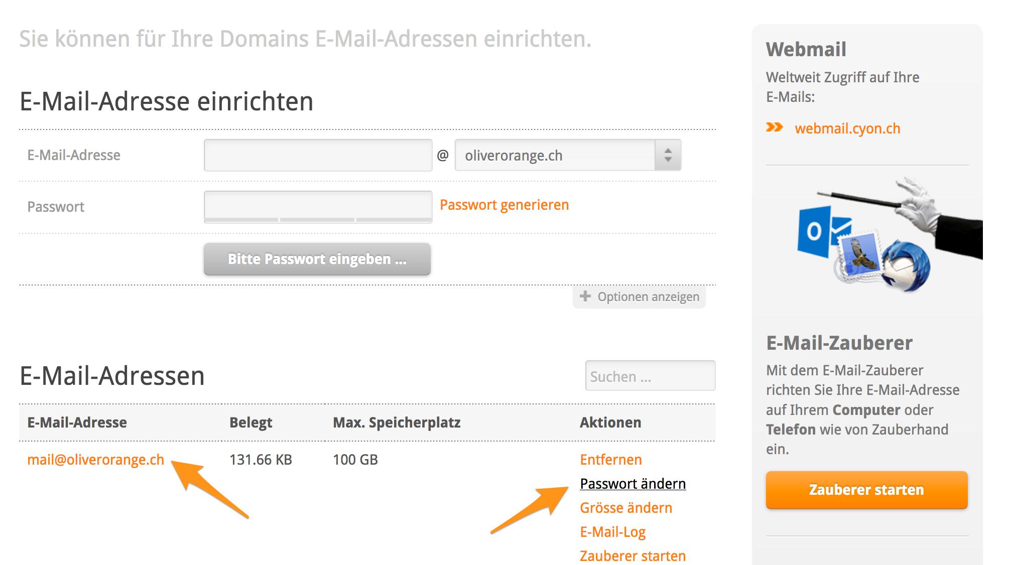 Passwort einer E-Mail-Adresse ändern