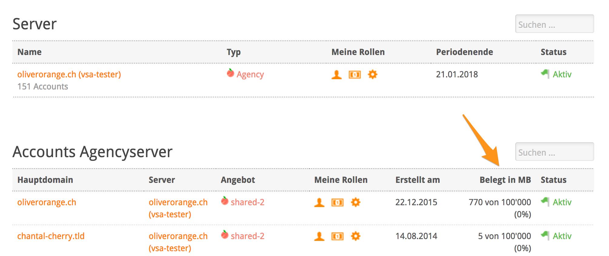Speicherplatz-Belegung einzelner Webhosting-Accounts