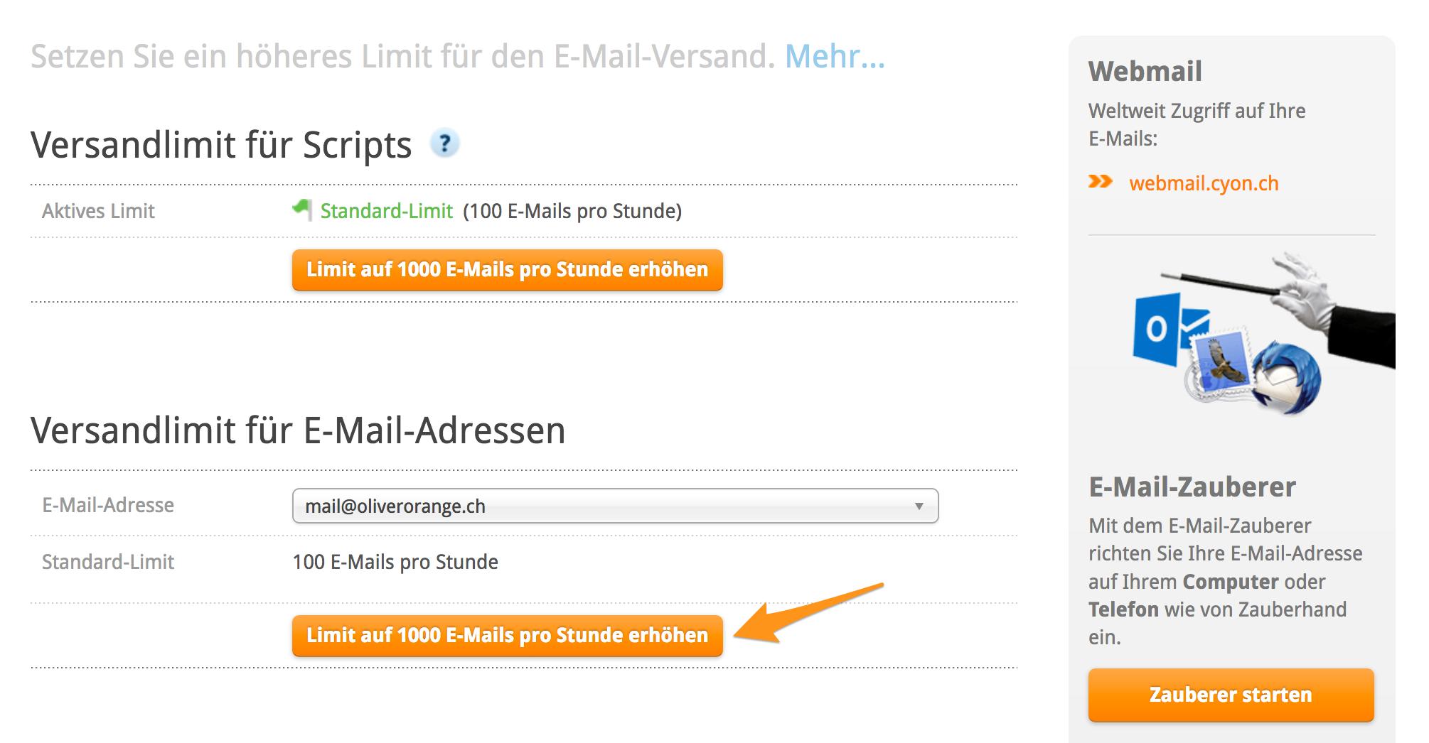 Versandlimit für eine E-Mail-Adressen