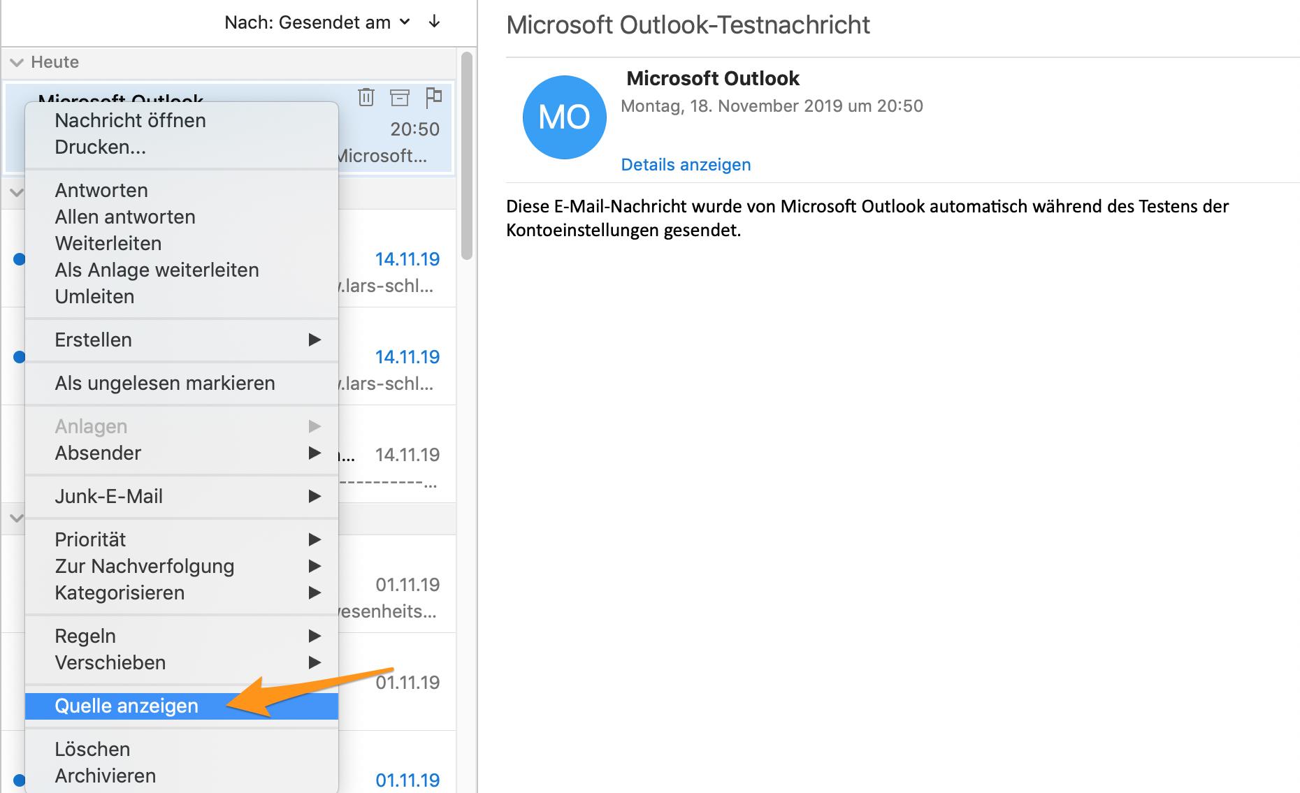 Header-Informationen anzeigen im Outlook für macOS