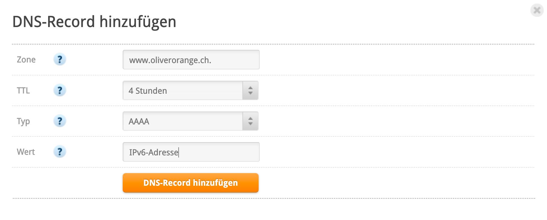 www-Eintrag für IPv6-Adresse erstellen