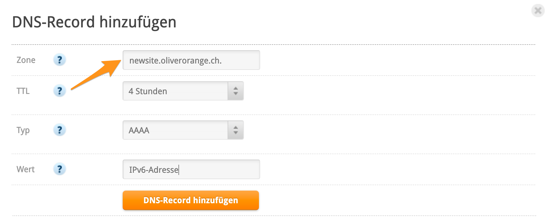 IPv6-Record für Subdomain erstellen