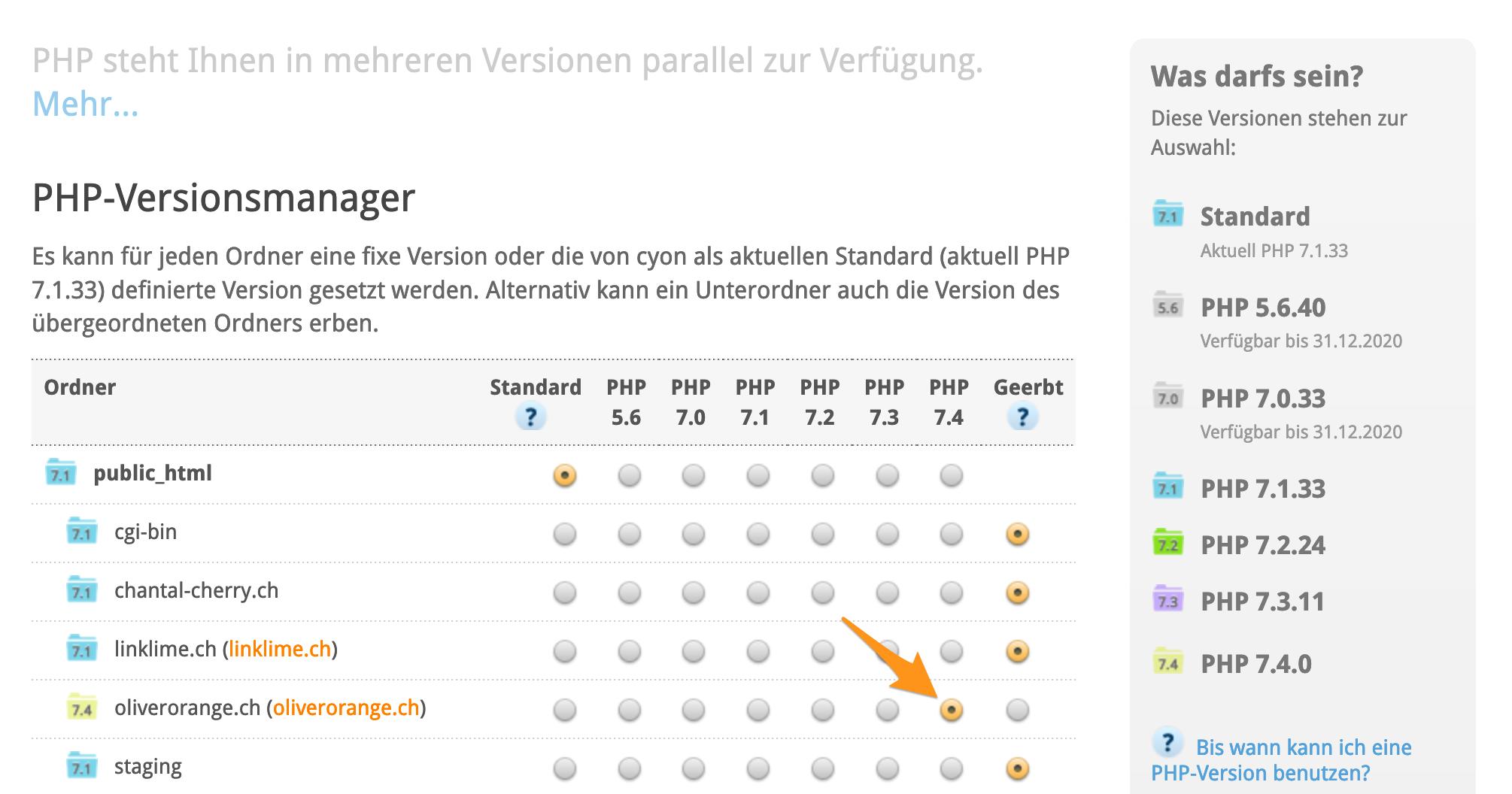 PHP-Version eines einzelnen Ordners ändern