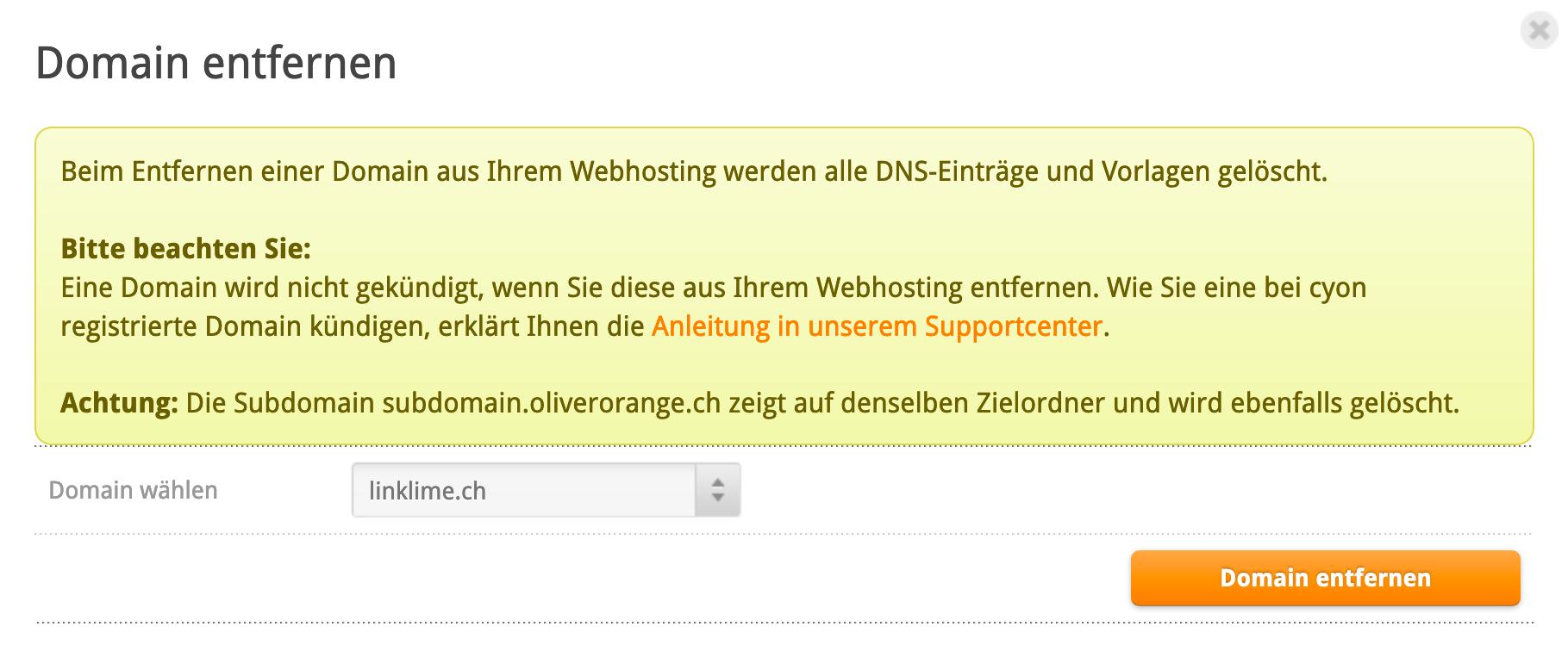 Hinweis beim Entfernen einer Domain