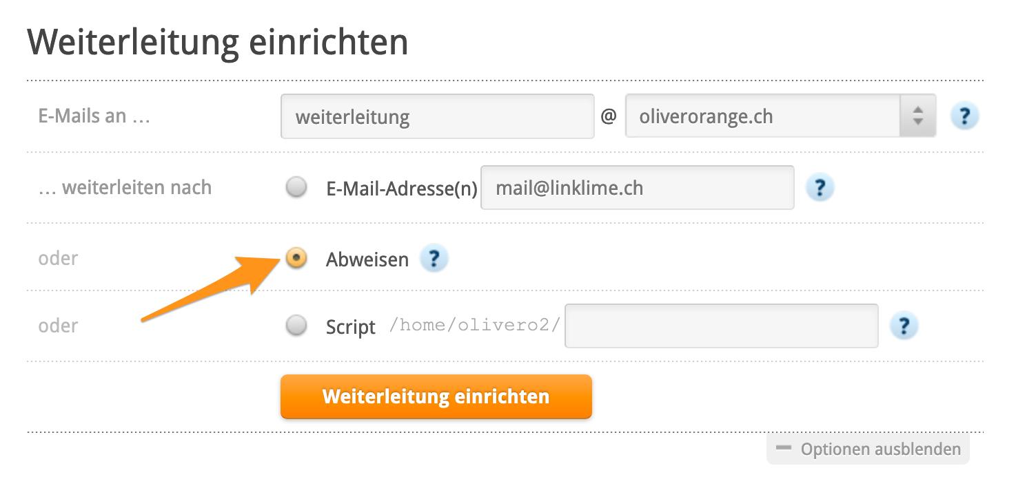 Konfiguration um E-Mails abzuweisen