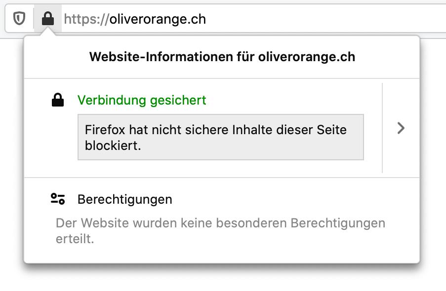 Warnhinweis für Mixed-Content in Firefox