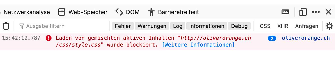 Hinweise auf blockierte Ressourcenin den Entwickler-Tools von Firefox