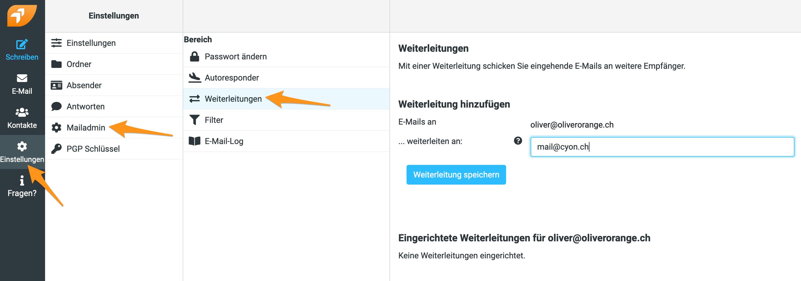 Weiterleitungen verwalten im Webmail