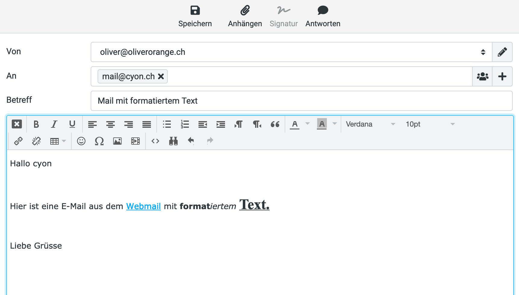 E-Mail verfassen mit Formatierungen